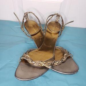 Dolce & Gabbana strappy braided mettalic sandles
